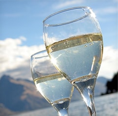 Two glasses of white wine with mountains in the background