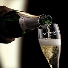 Wyfold Sparkling wine being poured into a Wyfold flute glass