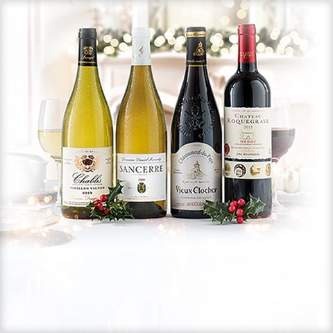 4 bottles of Christmas Classic Wines, 2 red, 2 white