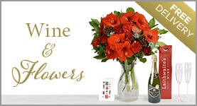 Wine and a bouquet of flowers - Free delivery