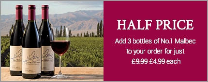 HALF PRICE - Add 3 bottles of No.1 Malbec to your order for just £4.99 each