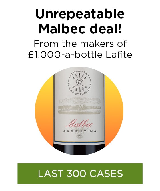 Unrepeatable Malbec deal! From the makers of £1,000-a-bottle Lafite - LAST 300 CASES
