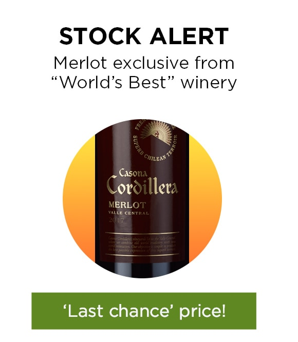 STOCK ALERT Merlot exclusive from 'World Best' winery - 'Last chance' price!