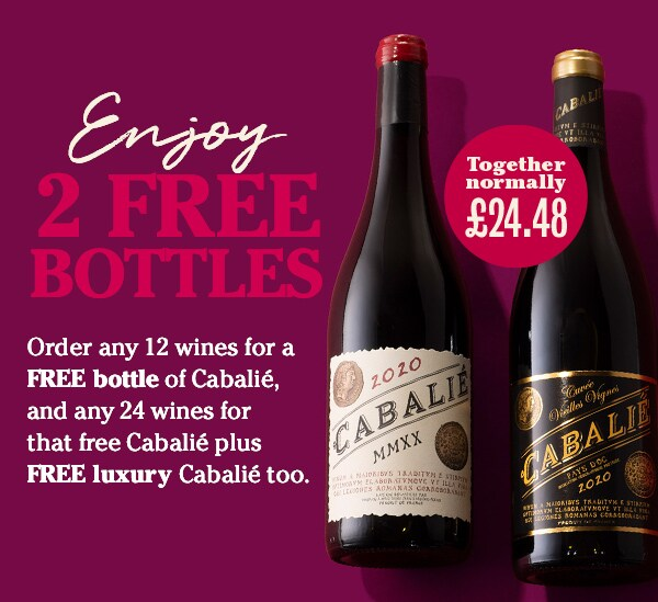 Our bestselling wine of all time - Order any 12 wines for FREE bottle of Cabalié, and any 24 wines for that free Cabalié plus FREE luxury Cabalié too.