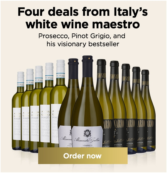 Four deals from Italy's white wine maestro Prosecco, Pinot Grigio, and  his visionary bestseller. SAVE up to £48