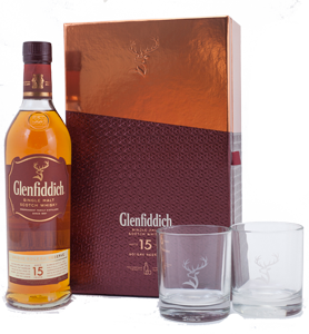 Glenfiddich 15 year-old Scotch Whisky Gift Set with 2 glasses (70cl)