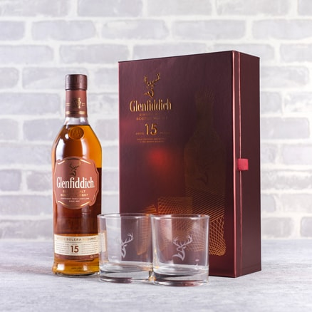 Glenfiddich 15 year-old Single Malt and Glasses Gift NV