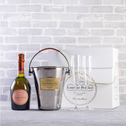 Laurent-Perrier Rosé Champagne, Flutes & Ice Bucket Gift