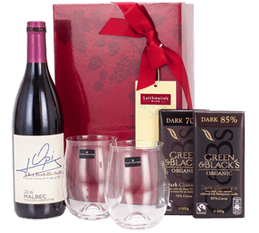 Dark Chocolate, Malbec and Glasses Gift Set