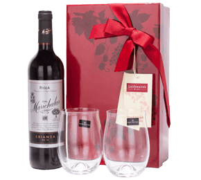 Rioja and Dartington Stemless Wine Glasses Gift Set