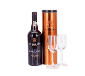 Andresen 20-year-old Tawny Port & Dartington Glasses Gift