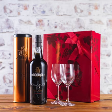 Tawny Port and Glasses Gift Set