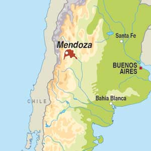 Map showing Mendoza