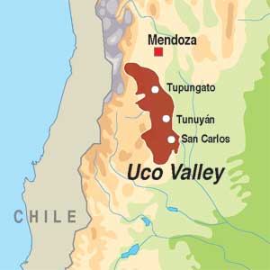 Map showing Valle de Uco