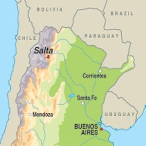 Map showing Salta