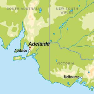 Map showing Adelaide