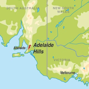 Map showing Adelaide Hills