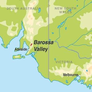 Map showing Barossa Valley