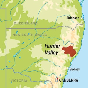 Map showing Hunter Valley