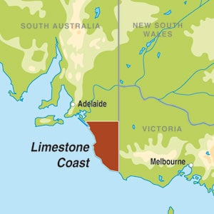 Map showing Limestone Coast