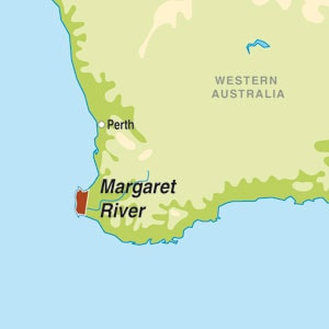 Map showing Margaret River