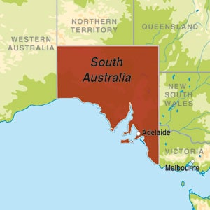 Map showing South Eastern Australia