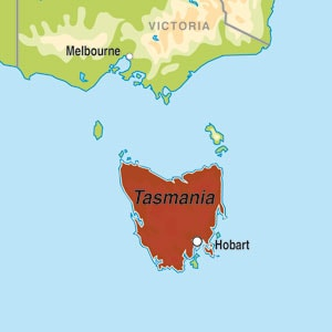 Map showing Tasmania