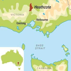 Map showing Heathcote