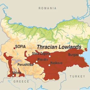 Map showing Thracian Lowlands
