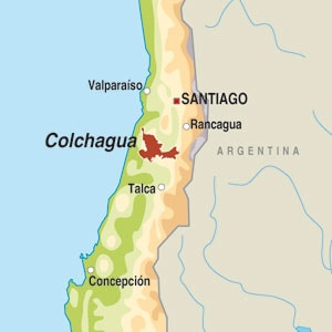 Map showing Valle de Colchagua