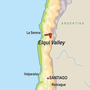 Map showing Valle de Elqui
