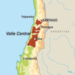 Map showing Valle Central