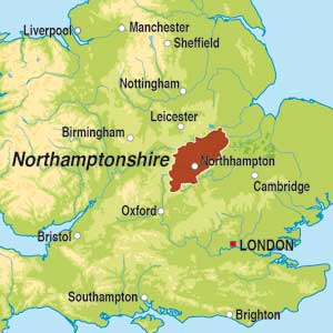 Map showing Northamptonshire