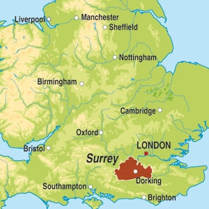 Map showing Surrey