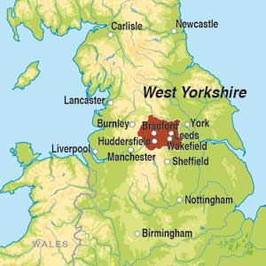 Map showing Yorkshire