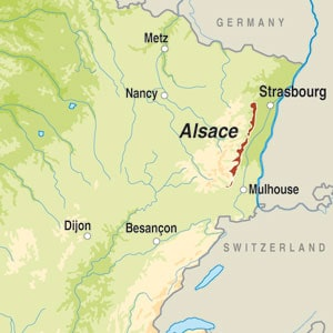 Map showing Alsace AOC