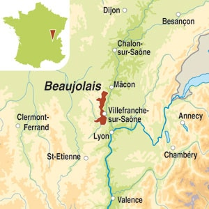 Map showing Beaujolais-Villages AOC
