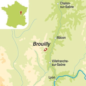 Map showing Brouilly AOC
