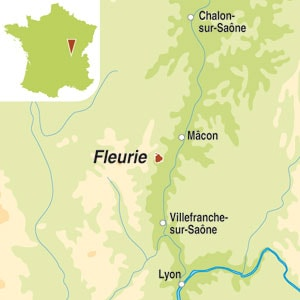 Map showing Fleurie AOP