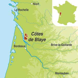 Map showing Blaye Côtes de Bordeaux AOC