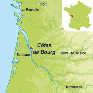 Map showing Cotes de Bourg AOC