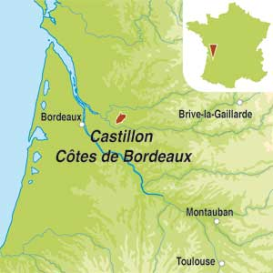 Map showing Castillon Côtes de Bordeaux AOC