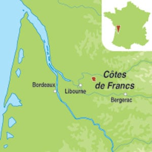 Map showing Francs Côtes de Bordeaux AOC