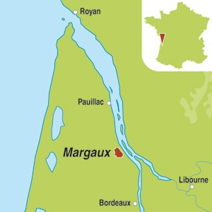Map showing Margaux AOC 2eme Grand Cru Classe
