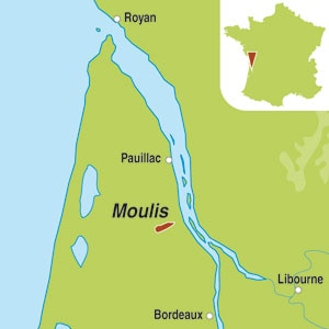 Map showing Moulis-en-Medoc AOC