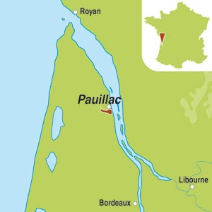 Map showing Pauillac AOC 5eme Grand Cru Classe