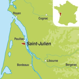Map showing Saint-Julien AOC