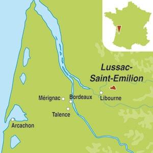 Map showing Lussac Saint-Emilion AOC