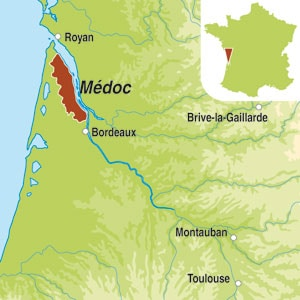 Map showing Medoc AOC Cru Bourgeois