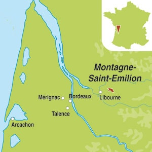 Map showing Montagne Saint-Emilion AOC
